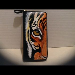 Handbags - Hand painted wallet. Tiger, black.
